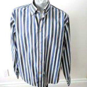 Thomas Dean Mens Shirt Size XL Striped Blue Gray